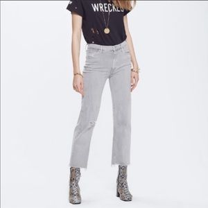 Mother Maverick Fray Wide Leg Crop Raw Hem Jean